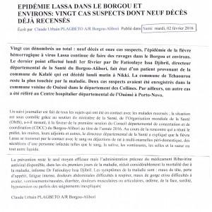 revue presse Bénin Lassa 2 fév 2016