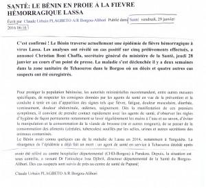 revue presse Bénin Lassa 29 janv 2016